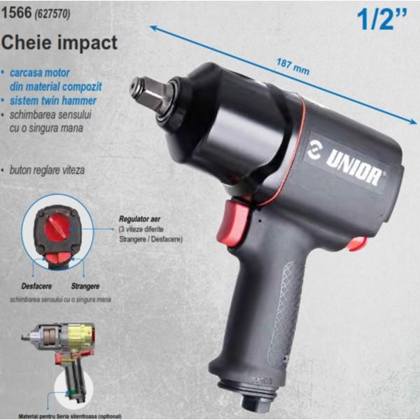 """Pistol pneumatic de impact reversibil cu variator de turatie 1/2"""" 1223 Nm 1566 627570 Unior"""